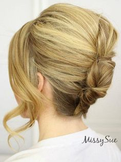 small French twist with curled bangs