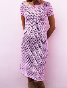 Платье вязаное из хлопка крючком ажурное Грация – купить в интернет-магазине на Ярмарке Мастеров с доставкой - DFMCZRU