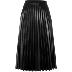 Aviù Pleated Mid-Length Skirt ($401) ❤ liked on Polyvore featuring skirts, black, pleated skirt, mid length skirts, knee length pleated skirt and mid length pleated skirt