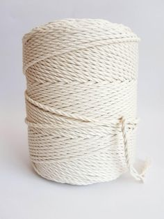 4 mm cotton rope, in macrame rope – 3 strand twisted cotton rope – 100 % natural macrame rope from EU. – color – this cotton cord is not bleached, so it has a natural looking cotton color. Length in roll: kg off white – (about 3 lb. Macrame Supplies, Crochet Supplies, Macrame Projects, Cotton Cord, Cotton String, Macrame Cord, Macrame Bag, 1 Of 1, 3 Strand Twist