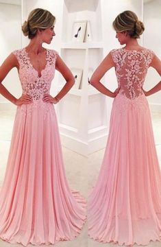 Charming beading top gray tulle prom dressformal gorgeous cheap a line v neck sweep train pink chiffon prom dress with lace fandeluxe Gallery