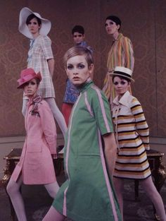 """Twiggy and the Mods: a 1960's British style tribe. Their fashion statement was elegance, long hair, granny glasses, and Edwardian finery. They were """"up for love, self-expression, poetry and getting stoned."""" A fresh concept was that males as well as females were entitled to wear handsome and dashing clothing."""
