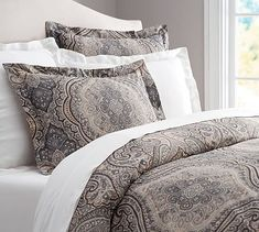 Master bedding used with washed velvet quilt in gray Beale Paisley Duvet Cover & Sham #potterybarn