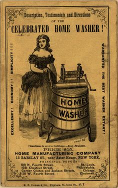 Free Vintage Printable Home Washer Ad Only $15 in 1870... Wonderful for your artsy or crafty projects! Pin this printable eph...