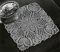 Pineapple Posy Doily crochet pattern originally published in Pineapple Fan Fair, Spool Cotton Co Vintage Crochet Doily Pattern, Crochet Dollies, Crochet Square Patterns, Crochet Squares, Crochet Motif, Crochet Flowers, Crochet Tablecloth Pattern, Crochet Granny, Granny Squares