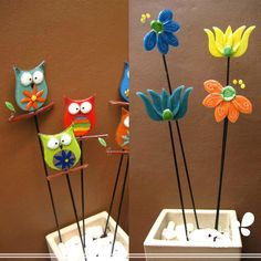 Deco Plantas Express - AT&T Yahoo Image Search Results Ceramic Flowers, Glass Flowers, Glass Birds, Fused Glass Ornaments, Fused Glass Art, Glass Fusion Ideas, Glass Fusing Projects, Glass Garden Art, Glass Design