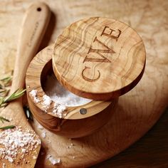 Olive wood salt keeper (monogrammed). Linda?