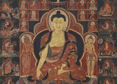 Shakyamuni Buddha with Sixteen Arhats Tibet, 15th century pigments on cloth