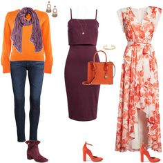 How to wear orange? 7 color combinations to get you started! How to wear orange? 7 color combinations to get you started! Orange Outfits, Lila Outfits, Colourful Outfits, Colorful Fashion, Purple Color Combinations, Color Combinations For Clothes, Color Schemes, Boho Chic, Orange Sandals