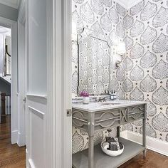 Powder Room with Gray Oak Washstand