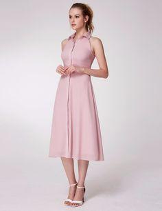 Alisa Pan Button Up A Line Midi Dress #EverPretty #pinkdress #dress #dresses