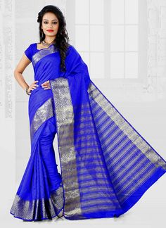 Aspiring to make a mark in the world of style, here is the attire to breathe life into your aspirations. We unfurl our intricacy and exclusivity of our creations highlighted in this style of an attractive blue cotton   casual saree. The ethnic patch border work over a dress adds a sign of elegance statement with your look. Comes with matching blouse.