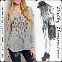 """NWT Gray Tribal Print Scoop Back Long Sleeve Top NWT Graphic Tribal Print Plunging Back Top  ** Please do not purchase this listing. I will make you a personal listing if you'd like to purchase **  Available in sizes: S, M, L Measurements taken in inches from a size small:  Length: 28"""" Bust: 46"""" Waist: 40""""   Features an open neckline and Aztec/Tribal print graphic on center front, plunging open back with strap back detail which keeps top in place. Super soft material - rayon blend.   Bundle…"""