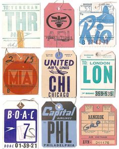 Vintage baggage tags, great #typo