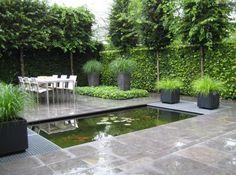 Strakke vijver met roosters in watertuin aangelegd door hovenier van jaarsveld tuinen