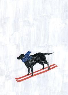 A skiing dog by artist Fumi Koike