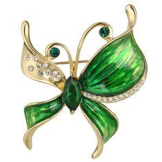 Ever Faith - Email Mai Pierre Anniversaire Art Nouveau Papillon CZ Broche Ton d'Or Vert N05627-1