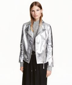 Silver-colored. PREMIUM QUALITY. Biker jacket in soft, supple leather. Lapels with snap fastener, diagonal zip at front, chest and side pockets with zip,