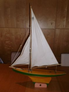 Vintage Star Comet Pond Yacht BR 4 Toy Sail Boat and Original Stand Birkenhead