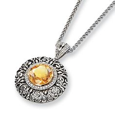 3.27 ct Citrine and 1/6 ct Diamond Necklace 18in for $299.97
