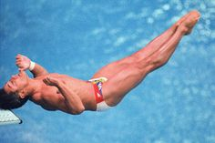 1988 Games in Seoul, American diver Greg Louganis hits his head during qualifying but still goes on to win the Gold