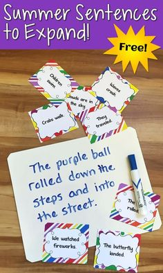 Art therapy activities writing Free Summer Sentences to Expand from Laura Candler! Use this free set of task cards with Sentence Go Round for a fun back-to-school writing activity! Writing Lessons, Writing Resources, Writing Activities, Writing Games, Reading Lessons, Writing Ideas, Teaching Kids To Write, Teaching Writing, Teaching Ideas