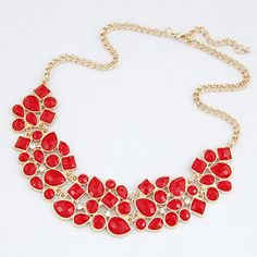 Maternity Bright Red Crescent-Shaped Design Alloy Korean #Necklaces  www.asujewelry.com
