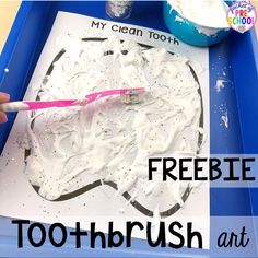 Tooth art freebie! Dental health themed activities and centers for preschool, pre-k, and kindergarten (FREEBIES too) #dentalhealththeme #preschool #pre-k #tooththeme