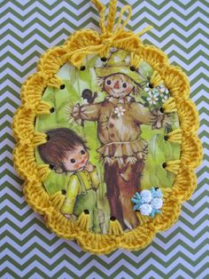 Scarecrow and Boy / Crochet Vintage Illustration by ShoeFlower