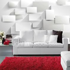 Modern 3D Shinny Leather Effect Large Mural Wallpaper White Cubes Art Wall Decor for Living Room - USD $34.18 ! HOT Product! A hot product at an incredible low price is now on sale! Come check it out along with other items like this. Get great discounts, earn Rewards and much more each time you shop with us!