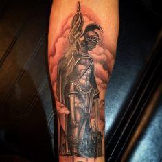 Tattoo by Guivy - GENEVA #St Florian #Fire Men #pompier #tatouage #Geneve #suisse #tatoo #saint #Florian #sculpture #feu #tatoueur #photo #dessin #salon