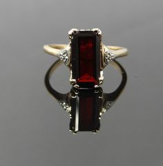 Simple Vintage Flower Shoulder Two Tone Garnet Ring  by MSJewelers, $615.00