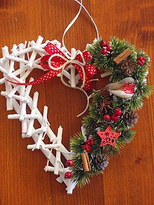 Dekorácie - Vianočné srdce s vtáčikom - 5967350_