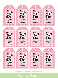Panda Favor Tags Thank You Tag Loot Bag Tag Panda Birthday