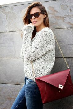 chunky knit pullover in gray