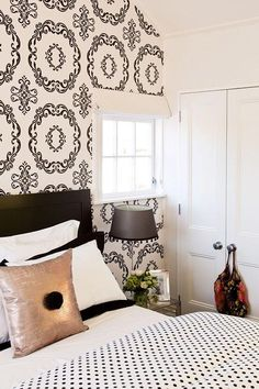 Black and white bedroom. From the Living With Kids Home Tour featuring Kate Oppenhuis.