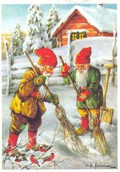 Jaanas buen O Mixta - Swedish Christmas, Christmas Gnome, Scandinavian Christmas, Vintage Christmas, Christmas Cards, Picture Postcards, Vintage Postcards, Scandinavian Gnomes, Christmas Printables