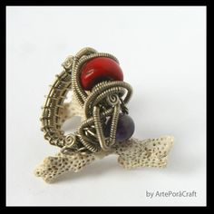 big wrapped ring with red corral and amethyst elegant by ArtePora