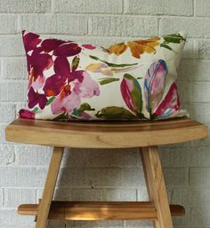 Colourful Floral Pillow Cover, Small Fushia lumbar floral pillow by TanisT on Etsy https://www.etsy.com/listing/183710087/colourful-floral-pillow-cover-small