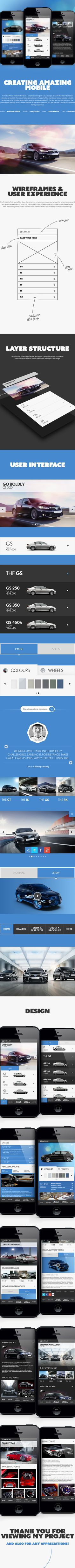 Lexus 'Creating Amazing' Mobile by Sean Hobman, via Behance Web Design, App Ui Design, User Interface Design, Site Design, Infiniti Q50, Wireframe, Conception D'applications, Design Spartan, Iphone App Layout