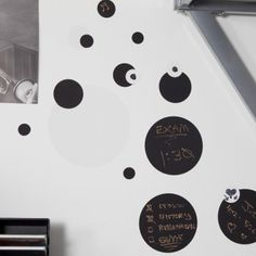 Who doesn't love dots? And black and white dots you can write on are even better! You gotta love peel and stick chalkboard decals for making boring walls fun!