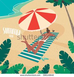 Nice girl in white swimsuit sunbathing on striped beach mat under a colorful parasol on the beach - Passive vacation or relaxation concept. Vector illustration