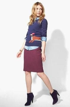 Casual, yet professional fall style: Pair a fun sweater over a chambray shirt with a colorful pencil skirt & booties.