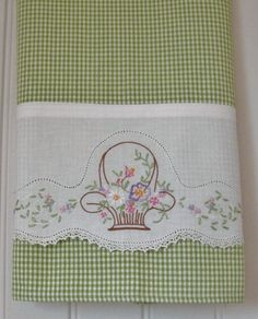 Recycled Vintage Pillowcase to Upcycled Tea Towel - Pretty on Pink - Homespun Home Decor.I am going to make checked pillow cases with the white edge like this for my bedroom. Embroidery Designs, Embroidery Transfers, Vintage Embroidery, Embroidery Stitches, Hand Embroidery, Machine Embroidery, Christmas Embroidery, Machine Applique, Applique Designs