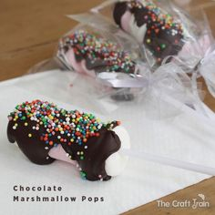 Chocolate Marshmallow Pop treats – these make great party favours.