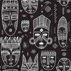 Vector seamless pattern with African ethnic tribal masks decorated. Vector seamless pattern with African ethnic tribal masks decorated.,new Vector seamless pattern with African ethnic tribal masks decorated with boho ornaments and ritual symbols. African Textiles, African Tribal Patterns, African Symbols, African Prints, African Tribal Tattoos, Tribal Symbols, Tribal African, Ethnic Patterns, African Fabric
