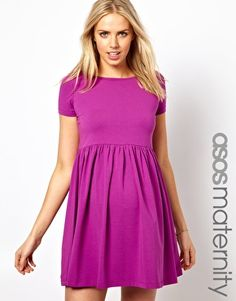 ASOS Maternity Skater Dress with Slash Neck and Capped Sleeve - comes in cream. casual so maybe good for non-traditional bachelorette?