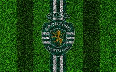 Download wallpapers Sporting CP, 4k, logo, football lawn, Portuguese football club, green white lines, Primeira Liga, Lisbon, Portugal, football, Sporting FC