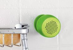 Compact wireless speaker gives you big sound for music, videos and games. Suction cup sticks to almost any surface—even your phone. Water-resistant for use in the shower, in the rain, around the pool, anywhere. Easy to pair with any Bluetooth-enabled device, like smartphones and tablets. Take speakerphone calls with the built-in microphone.