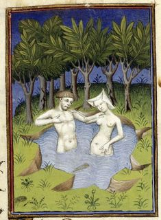 Harley_ms_4431_f132v_detail. Note: naked as jaybirds, but she's got her head covered.